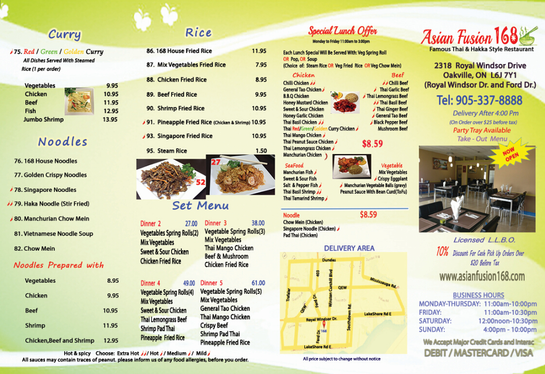 Take out menu asian fusion 168 for Take out menu